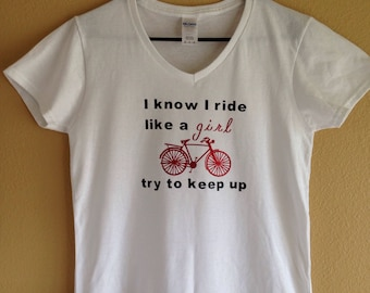 Ride Like A Girl Bicycle Tshirt, bike, summer style
