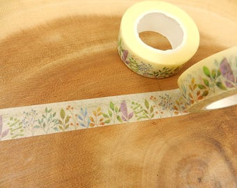 Floral Washi Tape, Plant Japanese Tape, Flowers, Planner Decal, 15mm Tape