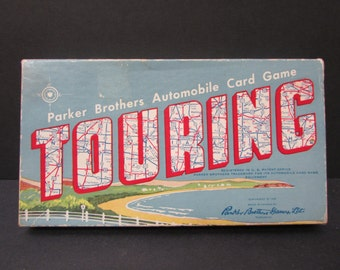 1950s Parker Brothers Touring Game, Complete/ 1958 Mid Century Automobile Card Game in Original turquoise blue red box, instructions