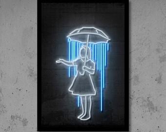 Umbrella Girl Art Banksy Art Banksy Print Neon Art Gift for Her Neon Print Neon Wall Neon Sign Banksy Wall Décor Street Art Neon Sign