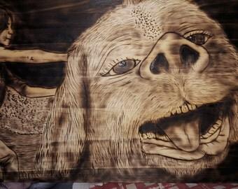 Woodburn image. Pine wood 20x30c: Neverending Story