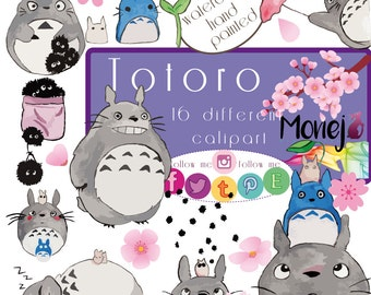 Totoro clipart. Handmade painted. Clipart.
