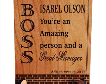 Boss Manager Custom Office Desk Plaque Gift, Thank you Gift for my Supervisor , Boss's Day Gift, Executive Director, PBA007