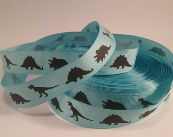 Dinosaurs patterned 22mm 7/8ths grosgrain ribbon blue  decorating hair bows gift wrapping xmas crafts