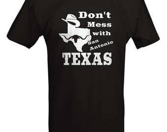 Don't Mess with Texas - Cowboy Hat San Antonio Oil Longhorn Orange UT Funny T shirt - B236