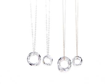 CLEAR GRACE necklace* dainty necklace with circle drop