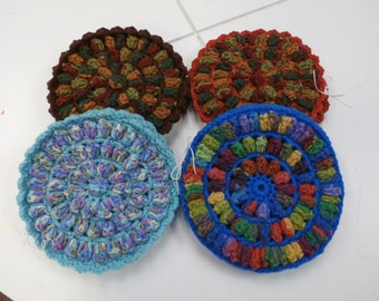 Handmade set of 2 Round Double-Sided Crochet Trivet Potholder with Popcorn Stitching