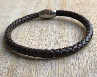 Vegan Bracelet, Braided Bracelet, Stainless Steel Magnetic clasp, Dark Brown Braided Faux Leather, His Bracelet