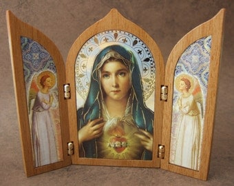 Immaculate Heart of Mary Triptych Shrine with Blessed Virgin Mary and angels icon