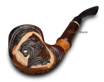 Exclusive Hand Carved Smoking pipe / 190 mm - 7.5 in / FREE Gift / Wooden Pipe / Tobacco pipe / Lion pipe