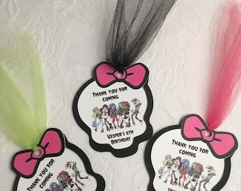 Monster High Bag Tags- Monster High Bag Tags- Favors Tags- Thank you Tags-Monster High Party