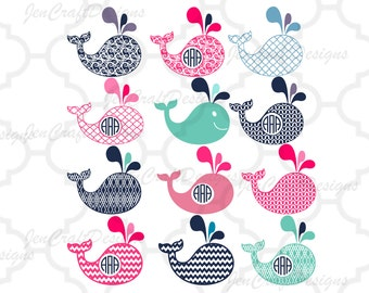 Whale Monogram Frame SVG Fish SVG Cut Files for Cricut and Silhouette, Vinyl Cutters Cutting Files,Svg,Dxf,Eps,png,Ai