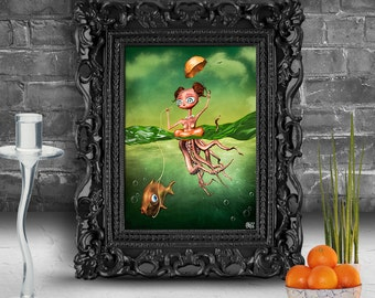 Girl with big eyes swimming with a fish.  Surreal fine art print   FRAMED