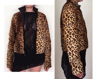 Vintage Leopard Jacket -  Faux Fur Cropped Jacket - Reversible Jacket - Cheetah Print Jacket - Furry Jacket - 90's Jacket - Grunge