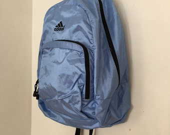 Vintage Addidas Backpack - Pastel Blue 90's School Backpack - Large Metallic Backpack -Club Kid Backpack - Addidas Bag - Large Backpack