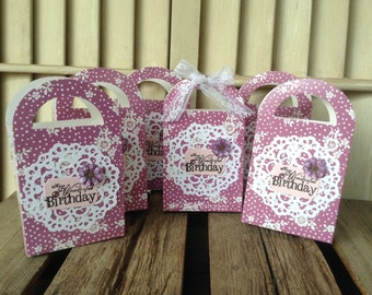 Happy Birthday Treat Favor Boxes, Set of 6, Cookie Box, Party Supplies, Treat Box, Party/Wedding, Interior Design, Snack Boxes, Boxes