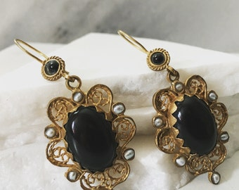 Dantel Jet Black Earrings - Semi Precious Stones, Pearls and 22k Gold Plated