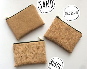 Cork coin purse, small zipper pouch, cork coin pouch
