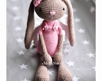 FREE SHIPPING! Crochet Bunny Rabbit/Amigurumi Bunny Rabbit/Crochet Long Floppy Eared Bunny Soft Toy with Bow in Pink-Christmas gift-baby toy