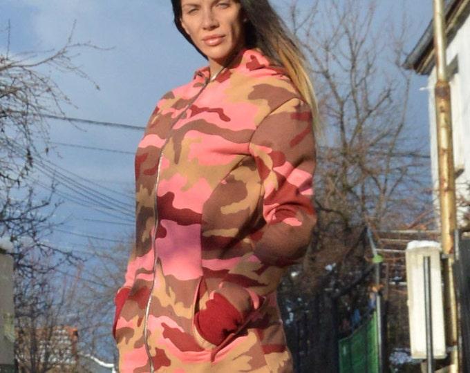 Extravagant Hooded Cotton Sweatshirt, Warm Long Zipper Jacket, Sport Pink Military Sweatshirt by SSDfashion
