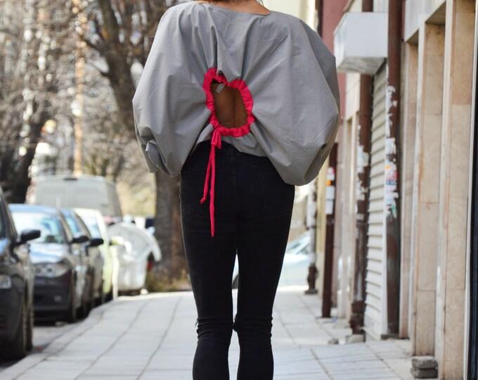 Extravagant Grey Cotton Shirt, Loose Open Back Shirt, Oversize Blouse, Maxi Tunic Top, Asymmetric Shirt by SSDfashion