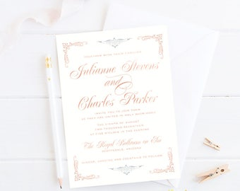 Foil-Stamped Luxury Wedding Suite (Copper Foil & Hints of Blue) --Deposit