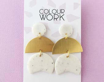 Three Tiered Drop Earrings in Granite White & Brass