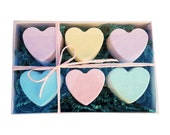 Gift Box- All natural Heart Bath Bombs- Send someone you love a half dozen bath bomb hearts in a gift box with free gift message! Gift Ideas