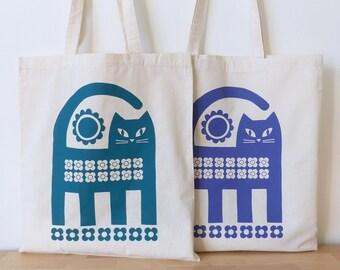 Cat Tote Bag Screen Print Retro Teal Purple Book Bag Shopping Bag Mid Century 70s 60s Scandinavian Scandi
