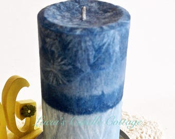 Layered Color Candles,  Blue Skies Palm Pillar, Vegan Candle, Gift ideas,Birthday Gifts, Wedding Decor, Home Decor, Cottage Chic