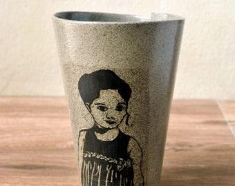 Modern Ceramic Tea Cup, Ceramic Coffee Cup, Modern Tea Mug, Ceramic Tumbler, Portrait Pottery coffee Cup, Gray Stoneware Mug, Pottery Mug