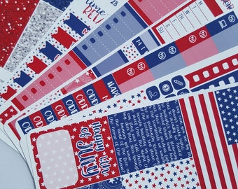 Independence Day | 4th of July | Vertical weekly kit | Planner Stickers (#WS-FJ)