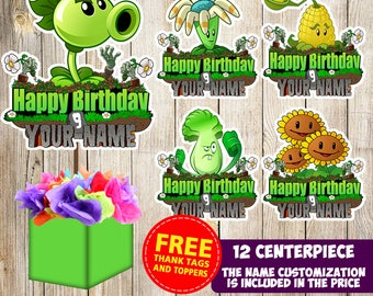 12 Plants Vs Zombie centerpieces, Plants Vs Zombie printable centerpieces, Plants Vs Zombie party supplies, Plants Vs Zombie birthday