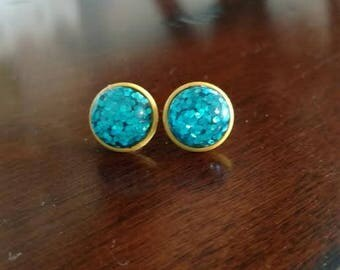 Blue Glitter Studs Yellow Sparkle Earrings Stud Modern Day Fashion Jewelry ~ Sale Expires Soon