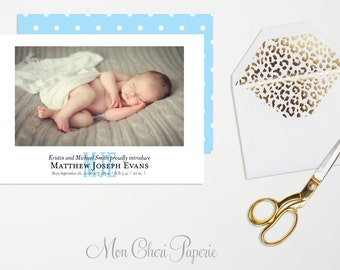 Birth Announcement Monogram - Baby Boy - Baby Blue Birth Announcement - Birth Notification Card   - Digital or Printed