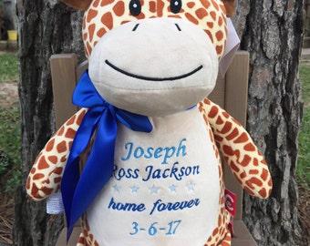 Personalized stuffed animal - Stuffed animal - Adoption announcement - Adoption gift - Personalized gift - Custom Gift - Baby shower gift
