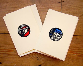 Set of 2 Cowboy & Sailor Black/Blue/Dark Red on Cream Two Tone Hand Printed Greetings Cards C6 BLANK INSIDE