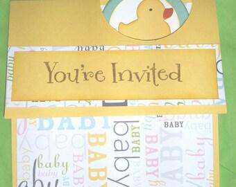 Baby shower invitations - yellow duck