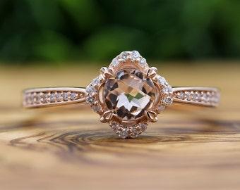 Rose Gold Morganite Ring,  Floral Vintage Halo Ring,  14K Rose Gold Anniversary Ring, Wedding Ring, Peach Morganite Floral Diamond Halo Ring