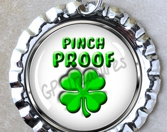 Pinch Proof 1 New  Flat Chrome Bottle Cap Charm with Split Ring Jewelry Bracelet Necklace  Key Chain Zipper Pull DYI Projects