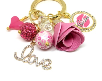 Love Keychain - Gold Keychain - Purse Keychain - Pretty Keychain - Purse Jewelry - Love Pendant - Flower Keychain - Beaded Keychain