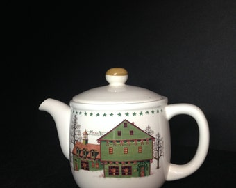 NIKKO Fine Tableware AMERICANA CHRISTMAS teapot/Americana Christmas/Nikko Charles Wysocki/Americana Christmas Teapot