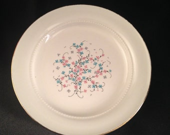 Eastern China N.Y. USA 22K/Vintage Eastern China Pink Blue Floral Design/Eastern China EAN32 bread plate/EAN32 by Eastern China