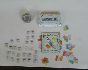miniature monopolies game 1/12 scale dollhouse miniature