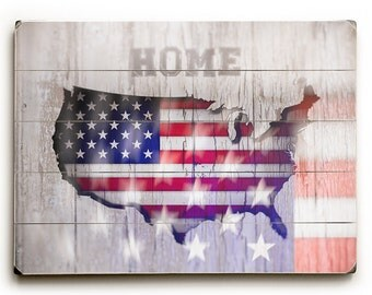 Wood sign USA map,  american flag wood sign, US flag print on wood plank, US map wood sign, american wood panel, rustic fine art map wood