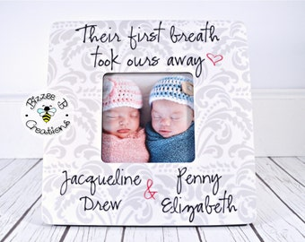 ON SALE Custom Twin Babies Picture Frame, Their First Breath Took Ours Away, Newborn Twins, Fraternal Twins, Gift for New Parents, Nursery D