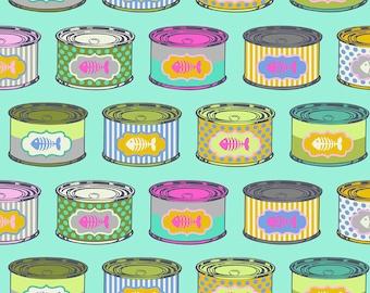 Tula Pink - Tabby Road - Cat Snacks Fabric - Blue Bird