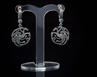 House Targaryen Earrings, Game of Thrones, silver ..... Three Headed Dragon Earrings, Game of Thrones Earrings, A Song of Ice and Fire