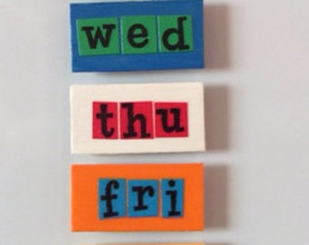 Wood Magnets, days of the week