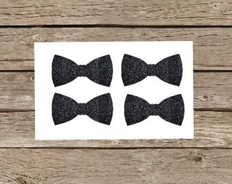 Glitter Bow Stickers, Black Glitter Bow Tie Sticker, Bowtie Sticker, Any Color Glitter, Bowtie Envelope Seal, Bowtie Invitation Seal